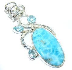 $52.85 Precious+Blue+Larimar+Sterling+Silver+Pendant at www.SilverRushStyle.com #pendant #handmade #jewelry #silver #larimar