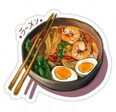 'Japanses Ramen Noodles Bowl' Sticker by Wieskunde Millions of unique designs by independent artists. Find your thing. Ramen Noodle Bowl, Ramen Noodles, Food Stickers, Car Stickers, Food Drawing, Food Illustrations, Cake Illustration, Cute Food, Clean Eating Snacks