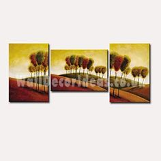 Landscape Hand-painted Oil Painting with Stretched Frame - Set of 3
