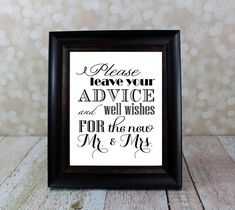 Well Wishes and Advice Table Sign.  Mr. & Mrs., Bride and Groom Sign, 8 X 10 inches. Instant Download, Wedding Card DIY Printable File. on Etsy, $10.00