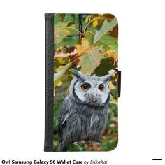 Owl and Leaves Wallet Case for Samsung Galaxy S4, S5 or S6