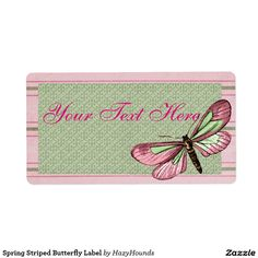Spring Striped Butterfly Label Shipping Label