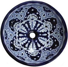 Blue Round Ceramic Talavera Vessel Sink Close-Up
