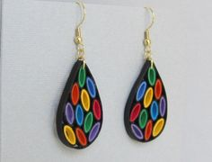 Items similar to DIY Quilling Earrings, Stained Glass Style, Small on Etsy Diy Quilling Earrings, Paper Quilling Jewelry, Quilling Paper Craft, Paper Earrings, Paper Jewelry, Paper Beads, Jewelry Art, Beaded Jewelry, Glass Earrings