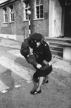London 1967 - Police Training - Police woman tackling an armed man in Scotland Yard