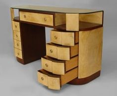 """French Art Deco mahogany and parchment veneered """"D"""" shaped dressing table desk with a glass top over sides of an open shelf and 4 drawers. Art Deco Desk, Art Deco Home, Art Deco Furniture, Vintage Furniture, Cool Furniture, Bedroom Furniture, Art Nouveau, Art Deco Bedroom, Master Bedroom"""