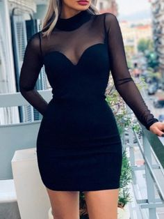 Long Sleeve Mesh Insert Bodycon Dress, Mini Black Homecoming Dress - How To Be Trendy Tight Dresses, Sexy Dresses, Dress Outfits, Short Dresses, Fashion Dresses, Bandage Dresses, Summer Dresses, Denim Dresses, Modest Fashion