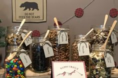 Trail Mix Bar with Buffalo Plaid Garland | Happy Trails to you sign | Do Not Feed the Bears Sign | Lumberjack Birthday Party Ideas | Camping Birthday Party Ideas