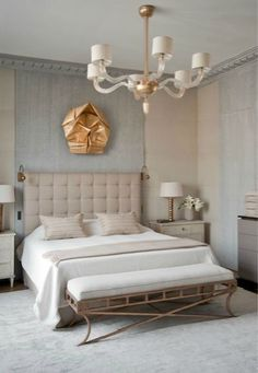 Gray and tan neutral bedroom..shock of gold!