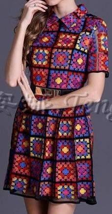 "Häkelmuster-Fundgrube: Kleid ""Granny Squares"":"