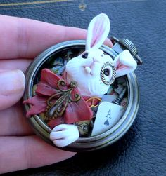 Handmade Steampunk Alice in Wonderland White Rabbit Polymer Clay Pocket Watch Sculpture Pendant
