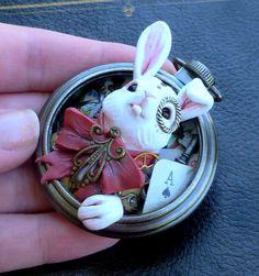 Handmade Steampunk Alice in Wonderland White Rabbit Polymer Clay Pocket Watch Sculpture Pendant