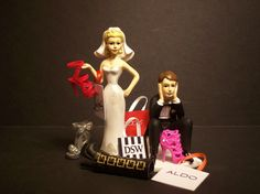 NO SHOE SHOPPING with Bags and Shoes Bride and Groom Wedding Cake Topper Funny