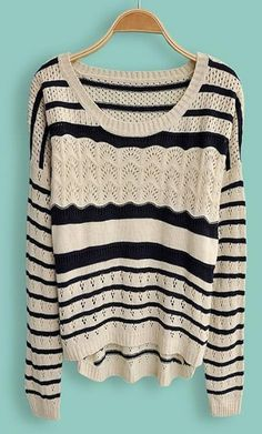 To find out about the Navy Beige Striped Embroidery Pullovers Sweater at SHEIN, part of our latest Sweaters ready to shop online today! Looks Style, Style Me, Pretty Outfits, Cute Outfits, Fashion Outfits, Womens Fashion, Fasion, Petite Fashion, Curvy Fashion