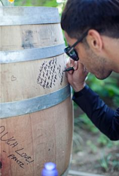 Wine Barrel Wedding Guest Book- use as decoration in house