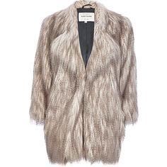 Silver long pile faux fur coat