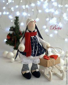 Купить Зайка Beta - рождественский эльф ! 39 см - тёмно-синий, новый год 2014