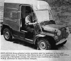 Tasmanian post office Moke Source by Vintage Cars, Antique Cars, Australian Cars, Halcyon Days, Batmobile, Car In The World, Greatest Adventure, Classic Mini, Weird And Wonderful