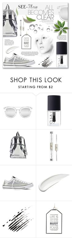 """""""Clear"""" by tina-miholic ❤ liked on Polyvore featuring Quay, NARS Cosmetics, International, Converse, Koh Gen Do, H&M, clear and Seethru"""