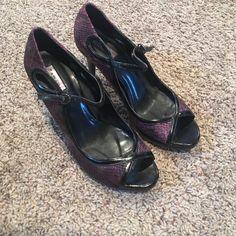 Cute Purple Snake Skin Heels