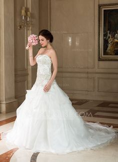 Ball-Gown Sweetheart Chapel Train Organza Satin Wedding Dress With Embroidery Beading Sequins (002011773) - JJsHouse