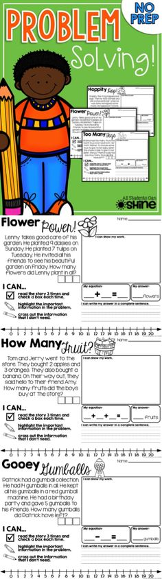 Problem Solving NO PREP. So many problem solving strategies all in one page! My students LOVE this :)