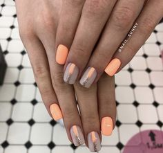 Peach Nails, Beauty, Beleza, Cosmetology, Peach Colored Nails