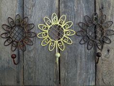 3 Distressed Yellow Sunflower Floral Decorative Wall Hanging Hook Kitchen Towel Bath Bedroom Useful Hanger Country Flower Girls Rustic $39.99 via Orphaned Treasure Etsy