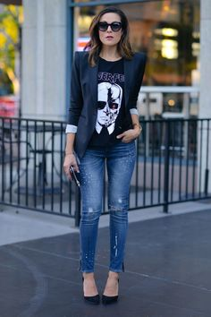 Lucy's Whyms Graphic Tee On Embellished Ripped Jeans Fall Street Style Inspo