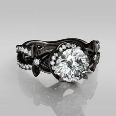 2-4/9CT Round Cut Created Diamond 14K Black Gold Over Wedding Women's Ring 6 7 8 #br925silverczjewelry #EngagementRing
