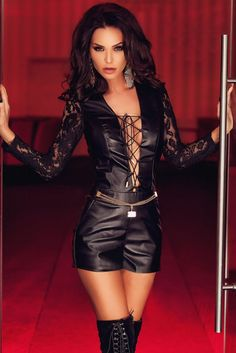 f718ed177494 Plunging Lace Up Leather Lace Playsuit US  10.33 Black Lace Playsuit
