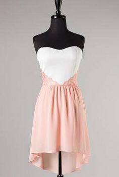 Romantic Dream Sweetheart High Low Dress with Lace Applique in Soft Pink | Sincerely Sweet Boutique on Wanelo