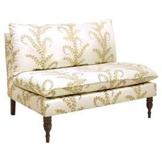 """Foam-cushioned chaise with floral-print upholstery and a pine wood frame. Handmade in the USA.  Product: ChaiseConstruction Material: Solid pine frame and polyurethane and polyester fillColor: Prasana sungloFeatures: Handmade in the USADimensions: 35"""" H x 49"""" W x 35"""" DNote: Assembly requiredCleaning and Care: Spot clean only"""