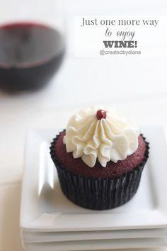 Just one more way to enjoy WINE! Chocolate Wine Cupcakes @createdbydiane
