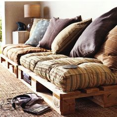 Gorgeous pallet lounge (unsure of designer)
