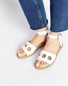 ASOS FLOCKTON Rivet Two Part Leather Sandals
