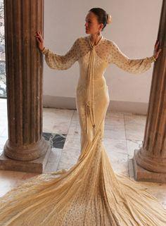 1930s Extraordinary Beaded Velvet Wedding Gown with Long Beaded Train!
