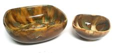 JK Dryden Original Chip Dip Bowl Set Pottery Brown Green Beige Lot  2 pc MCM  #DrydenPottery