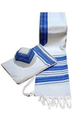 "Talitnia Wool Blend Carmel (Herringbone Weave) Tallit Prayer Shawl with Matching Bag and Kippah in Blue Shades Size 31"" L X 72"" W Talitnia. $160.00"