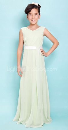 3a7b195bb3 Sheath   Column V Neck Floor Length Chiffon Junior Bridesmaid Dress with  Sash   Ribbon   Side Draping by LAN TING BRIDE®   Spring   Summer   Fall ...