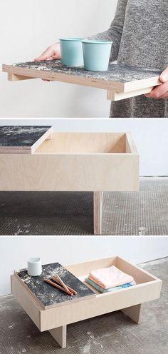 Coffee table / wood birch / tray texture / scandinavian design japan / black and white / minimalist / side table / tea table / bedside table DIY Low Tray Table