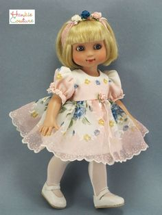 PINK FLORAL NYLON DOLL DRESS FITS TONNER ANN ESTELLE PATSY SOPHIE HANKIE COUTURE