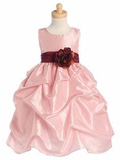 Blossom Pink Sleeveless Gathered Taffeta Dress w/ Detachable Sash