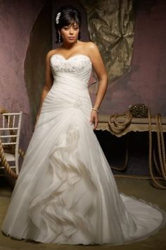 Plus size wedding dresses white strapless fit and flare with ruching - Google Search