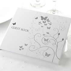 Silver Elegant Butterfly Wedding Guest Book