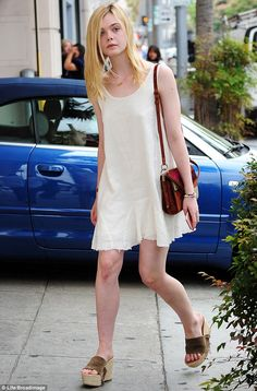 Treating herself: Elle Fanning was spotted shopping for shoes at Giuseppe Zanotti in Bever...