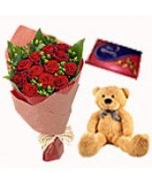 "Big Teddy 8"" to 10"" , Cadbury Celebration Small Pack139.20 gms and 12 red Roses bouquet"