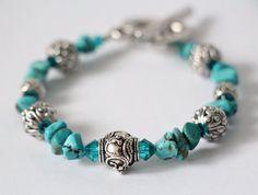 Tourquoise+Gemstone+Bracelet+with+Blue+Swarovski+by+TaleaStudios,+$34.00