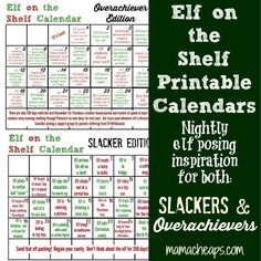 Elf on the Shelf Printable Calendars: Inspiration for Both Slackers and Overachievers #elfontheshelf