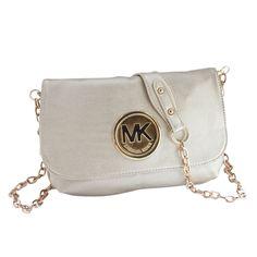Michael Kors Fulton Messenger Medium White Crossbody Bags Outlet